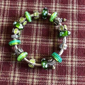 Pandora sterling silver and peridot stone bracelet